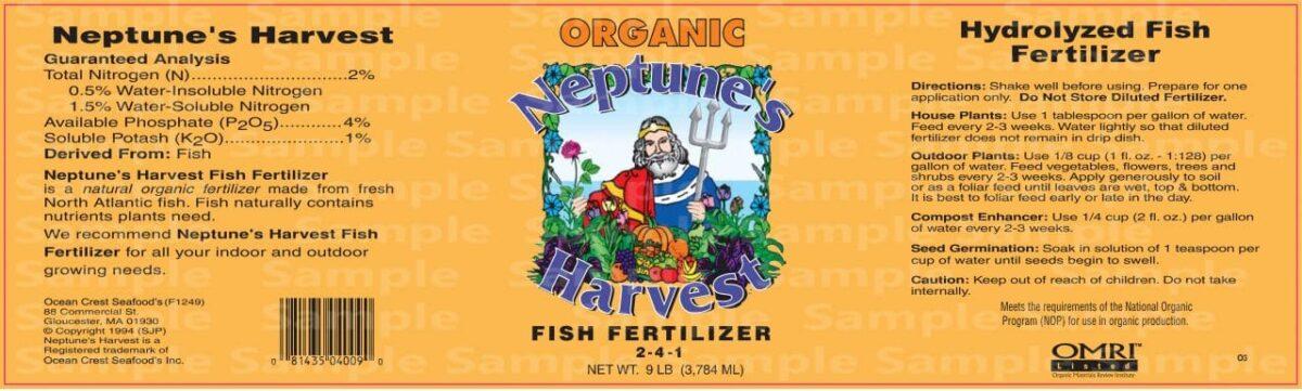 neptune's harvest fish fertilizer label